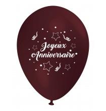 Ballon Joyeux Anniversaire (en français) à l'unité marron