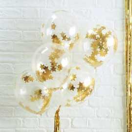 5 Ballons Gonflables Latex Confettis Etoiles Dorées Premium Fête
