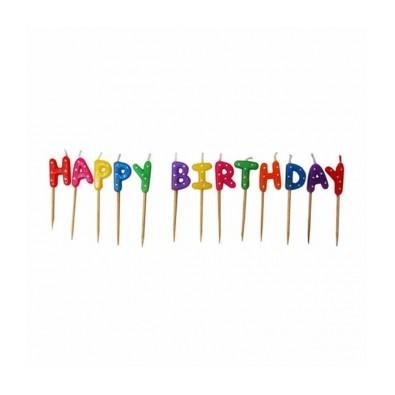 Bougies Colorées Etoiles Happy Birthday