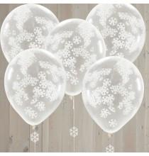 Ballons Confettis avec Flocons de neige blancs
