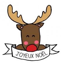 """Tatouage Ephémère """"Joyeux Noël"""" Petit Renne"""