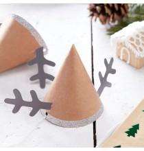 Mini Chapeaux Rennes - Kraft et Glitter Argent