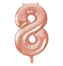 Ballon Géant Chiffre 8 Huit - Numéro Décoration Anniversaire Rose Cuivré Rose Gold