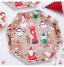 6 Chapeaux Père Noël et ses amis - pompon rouge