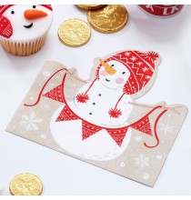 20 Serviettes en forme de bonhomme de neige - Noël