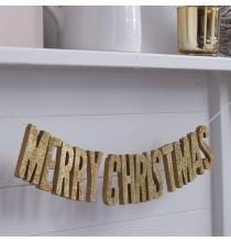 "Banderole ""Merry Christmas"" Doré Noël"
