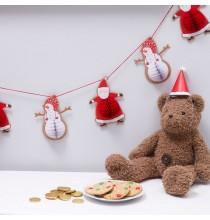 Banderole Fanions Premium Père Noël et ses amis - effet 3D