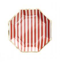 Grandes Assiettes Rayées - rouge blanc et doré