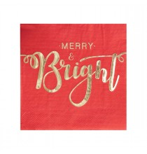 20 serviettes Merry & Bright - rouge et doré