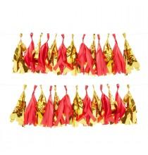 5 Rosaces Premium Rayées - rouge blanc et doré