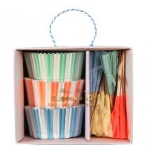 Kit Cup Cake Premium Pastel Rayé Bleu Rose Vert Vaisselle Jetable
