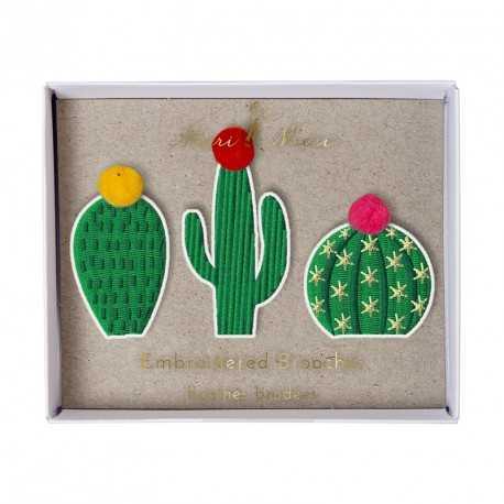 3 Broches Ecussons Cactus Party Anniversaire et Fête