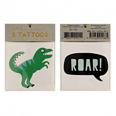 2 Tatouages Dinosaure & Roar Anniversaire Meri Meri