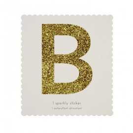 Lettre Glitter B Alphabet Adhésif Glitter Doré
