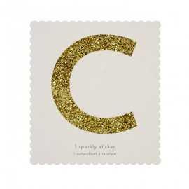 Lettre Glitter C Alphabet Adhésif Glitter Doré