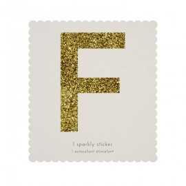 Lettre Glitter F Alphabet Adhésif Glitter Doré