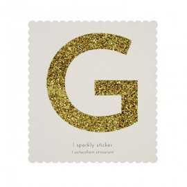 Lettre Glitter G Alphabet Adhésif Glitter Doré