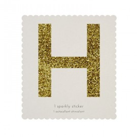 Lettre Glitter H Alphabet Adhésif Glitter Doré