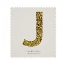 Lettre Glitter J Alphabet Adhésif Glitter Doré