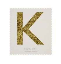 Lettre Glitter K Alphabet Adhésif Glitter Doré