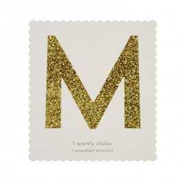 Lettre Glitter M Alphabet Adhésif Glitter Doré