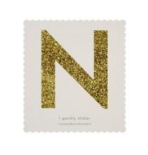 Lettre Glitter N Alphabet Adhésif Glitter Doré