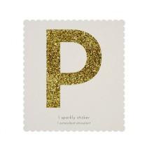 Lettre Glitter P Alphabet Adhésif Glitter Doré