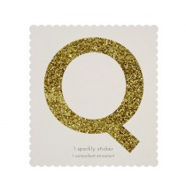 Lettre Glitter Q Alphabet Adhésif Glitter Doré