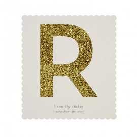 Lettre Glitter R Alphabet Adhésif Glitter Doré