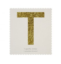 Lettre Glitter T Alphabet Adhésif Glitter Doré