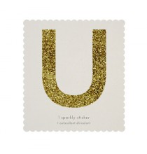 Lettre Glitter U Alphabet Adhésif Glitter Doré