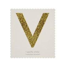Lettre Glitter V Alphabet Adhésif Glitter Doré