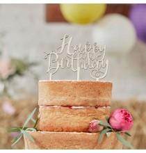 """Décors Pique Gateau Banderole """"Happy Birthday"""" Bois Fête d'Anniversaire enfant"""