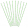10 Pailles Rétro Chevron Vert Pastel et Blanc