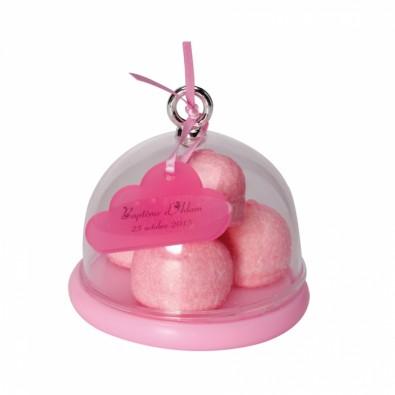Mini bonbonnière ronde base rose - Contenant à Dragées