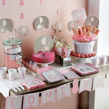 Baby Shower Elephant Rose Pastel