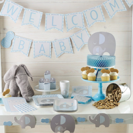 Baby Shower Elephant Bleu Pastel