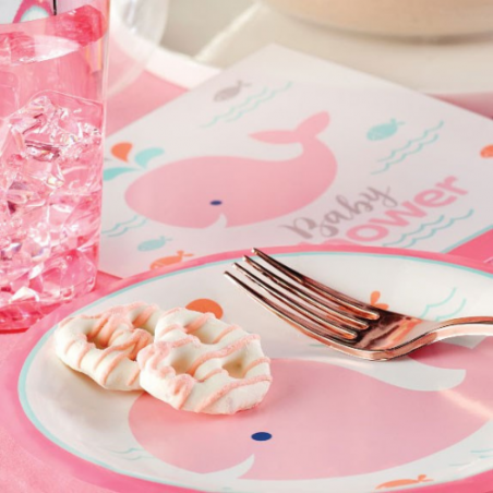 Baby Shower Baleine Rose Pastel & Mint