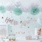 Hello World Baby Shower Nuages