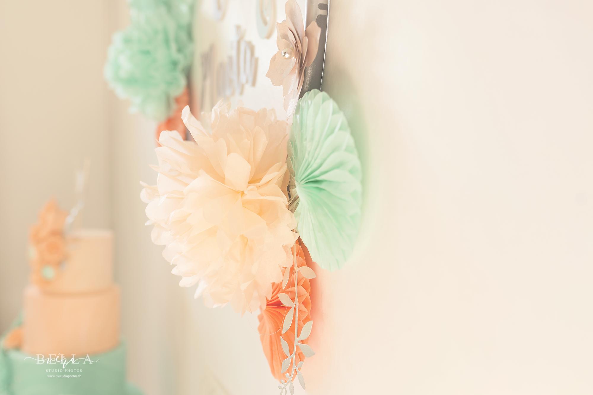 Fil De Peche Rose décoration de baptême vert mint et orange pêche