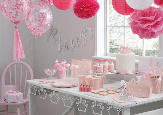 Anniversaire Baby Shower Bapteme Theme Princesse Rose Argent
