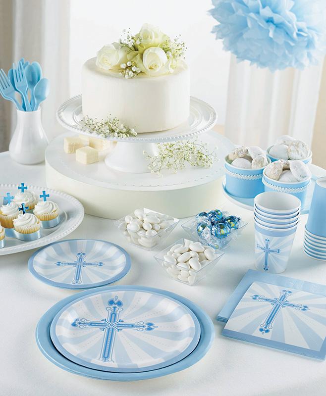 Decoration Bapteme Communion Bleu Et Blanc