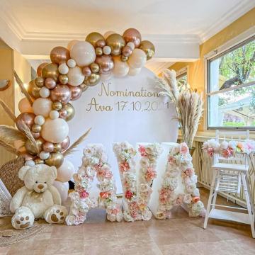 Magnifique scénographie pour la petite Ava signée @gordievents organisatrice partenaire en IDF ❤ Les couleurs sont magnifiques 😍 Merci Diana pour ton partage 🎈 Le mélange de ces tons nude, rose gold chromé et d'or chromé avec de la pampa est juste sublime.  #ballondecoration #ballonsbiodegradables #ava #nomination #balloondecor #archesdeballons #ballons #guirlandedeballons #paris #organisatriceevenementiel #eventplannerparis #balloondesigner #ballonsorganiques #organicballoon #kidspartyplanner #partyplannerparis #eventplanner #luxuryeventplanner #eventsparis #instaparis